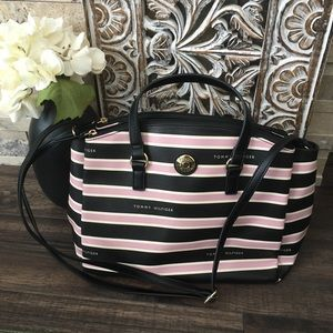 Tommy Hilfiger Pink Striped Shoulder Crossbody Bag